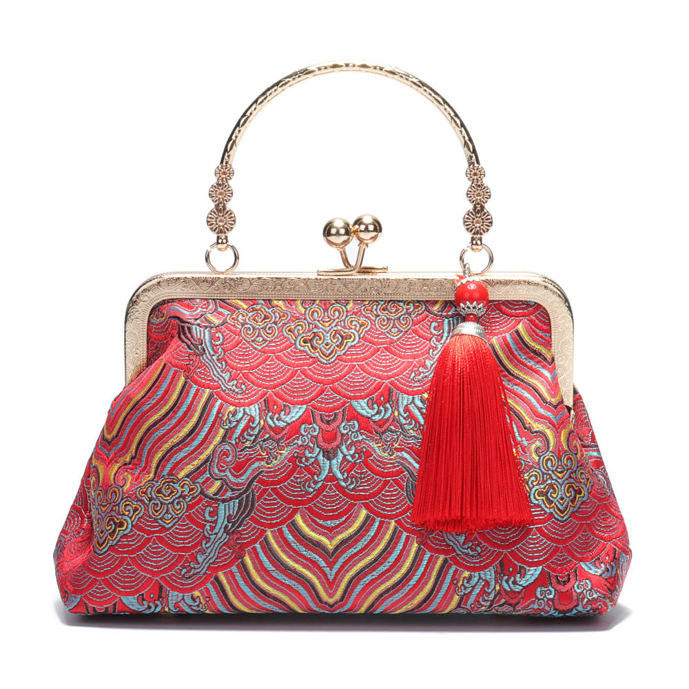 Brenice National Tassel Handbag Chinese Style Chain Elegant Party Cosmetic Bags