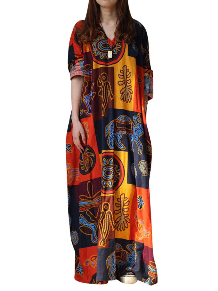 Ethnic Women Random Pattern Printing V-Neck Long Dresses