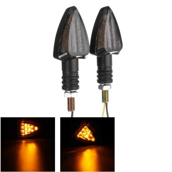 Par 12V Motorcycle Motor Bicycle Arrow Amber LED Indicadores de sinal de giro Luz