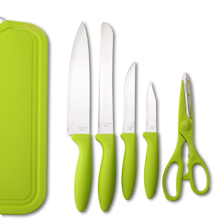 KCASA KF-3 6 Pieces Kitchen Multifunctional Green Stainless Steel Easy Cutting Knifes Scissor PP Cutting Board Knife Sets