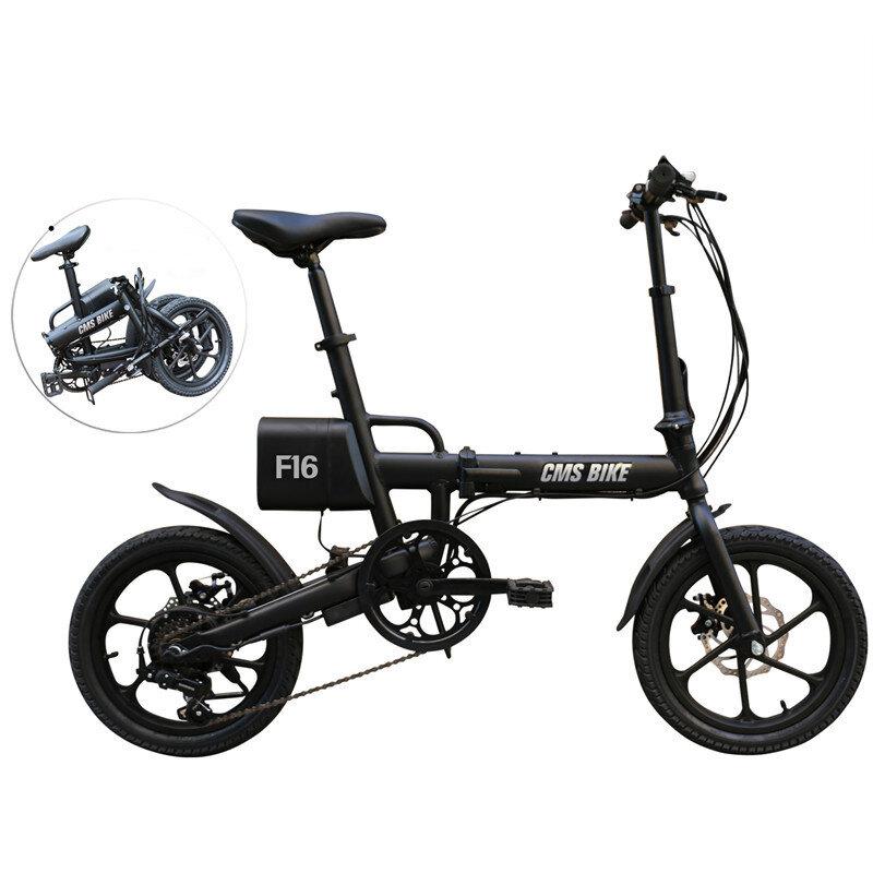 CMSBIKE F16 36V 7.8AH 250W Nero 16 pollici pieghevole bicicletta elettrica 20 km / h 65 km di distanza in miglia sistema di velocità variabile intelligente