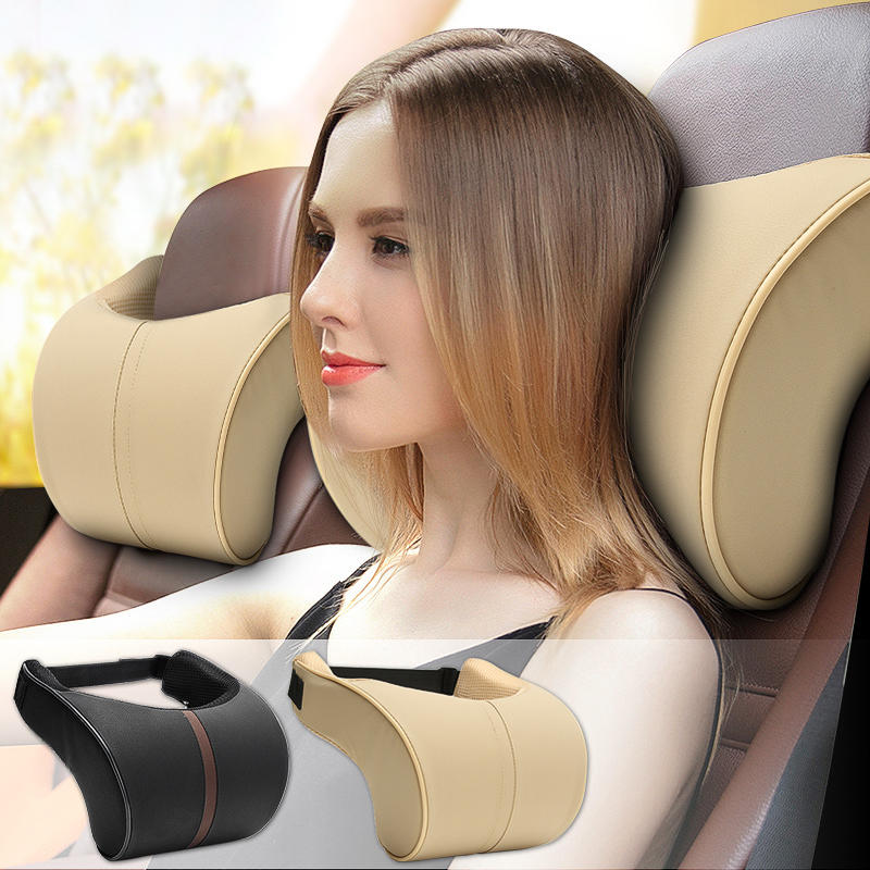 2Pcs Leather Memory Foam Car Neck Rest Pillow Safety Cushion Head Support Covers