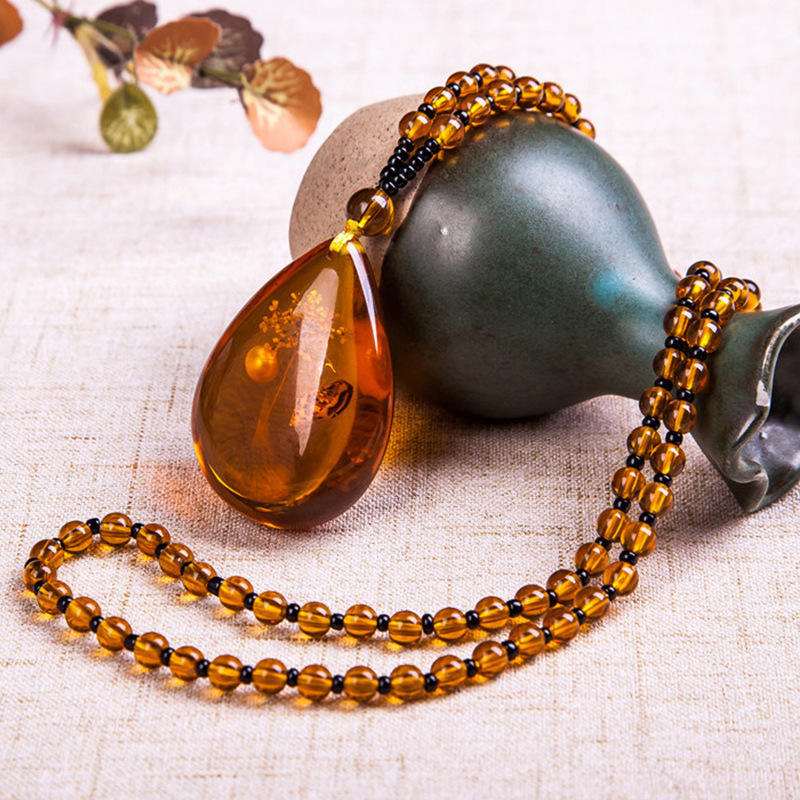 Unisex Resin Amber Flower Drop Pendant Vintage Geometry Beads Women Necklace Chain