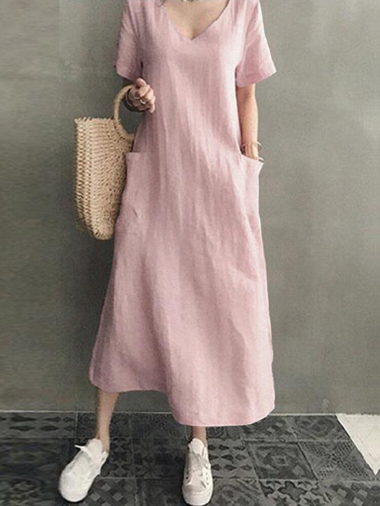 المرأة القطن قصير الأكمام الخامس الرقبة الجانب جيب الصلبة ميدي اللباس