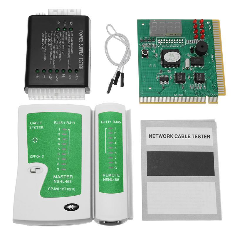 PC Network Test Kit Scheda madre POST Analyzer Tester di cavo di rete di alimentazione del computer