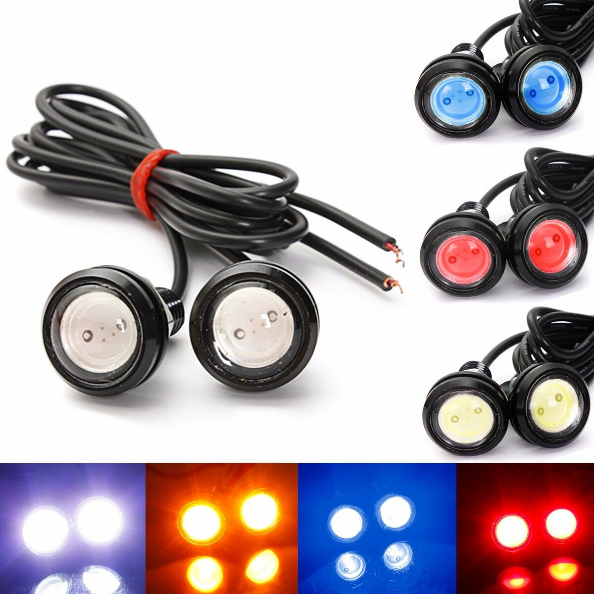 2PCS 3W LED Eagle Eye Lights Daytime Running DRL Bulb Backup Reversing Lamp 12V White for Car Motor