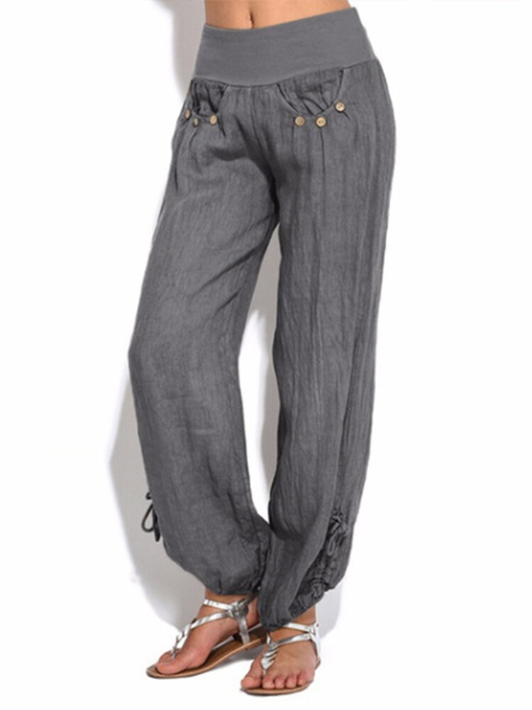 Bottone Puro Colore Vita Donna Casual Yoga Harem Pantaloni