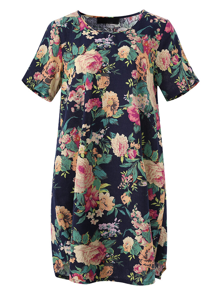 Women Floral Printed O-neck Loose Short Sleeve Dress