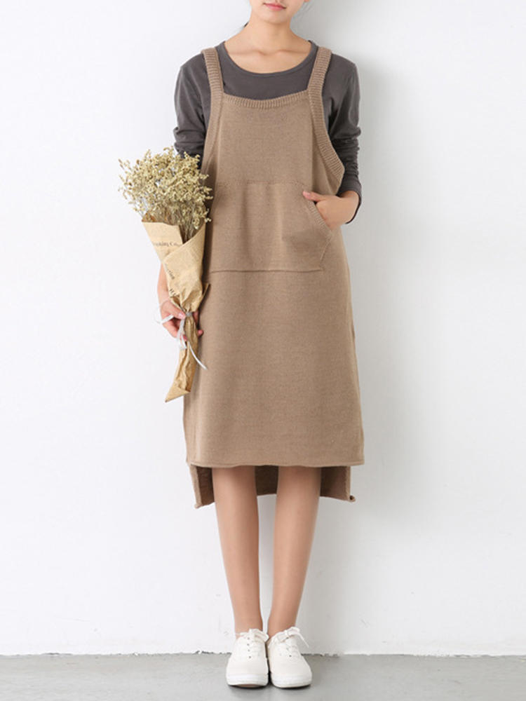 Women Sleeveless Straps Knitting Solid Color Irregular Dress