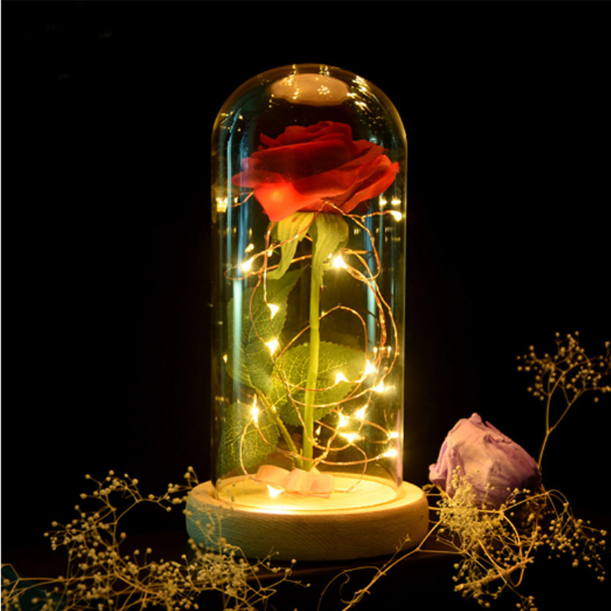 Red Rose Lights Decorations Beauty Enchanted Conserveed Red Fresh Rose Glass Cover met LED-licht