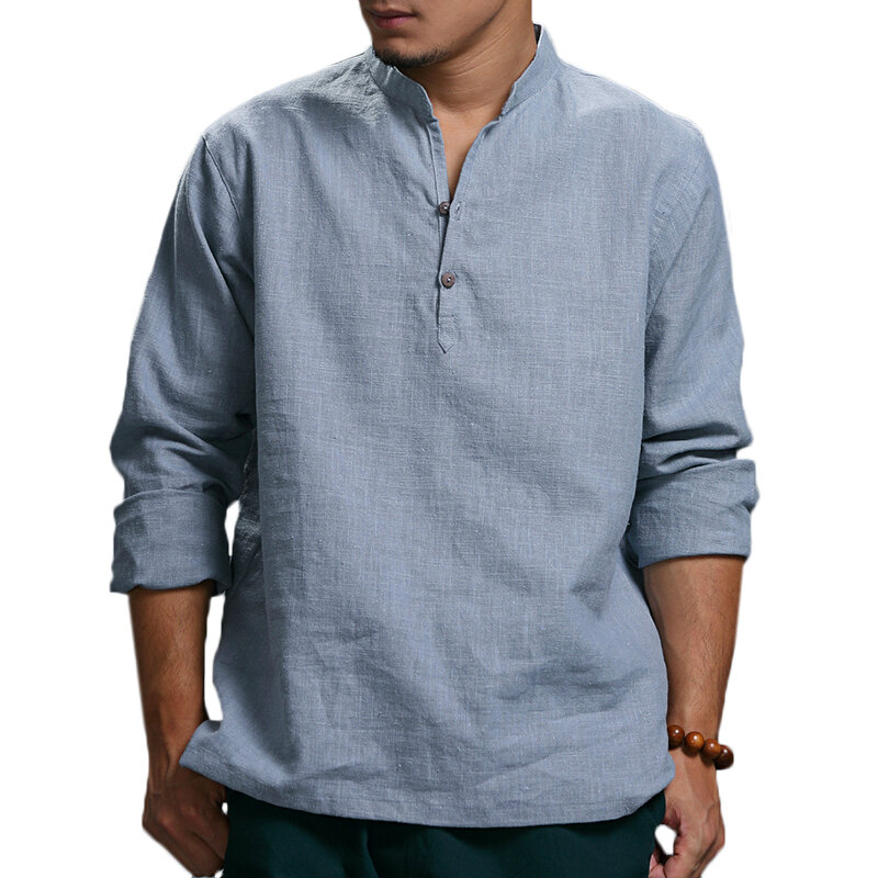 TWO SIDED Men's Autumn Long Sleeve Cotton Stand Collar Loose Solid Color Spring Casual T-shirts