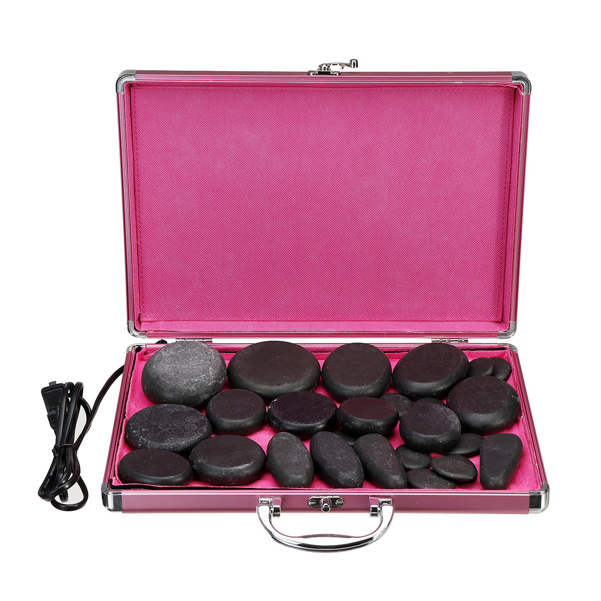 24PCS 110-220V Therapy Efficacy Spa Massage Stone Muscle Tension Legs Neck Tired Feet Back Shoulder Electric Massager Stone