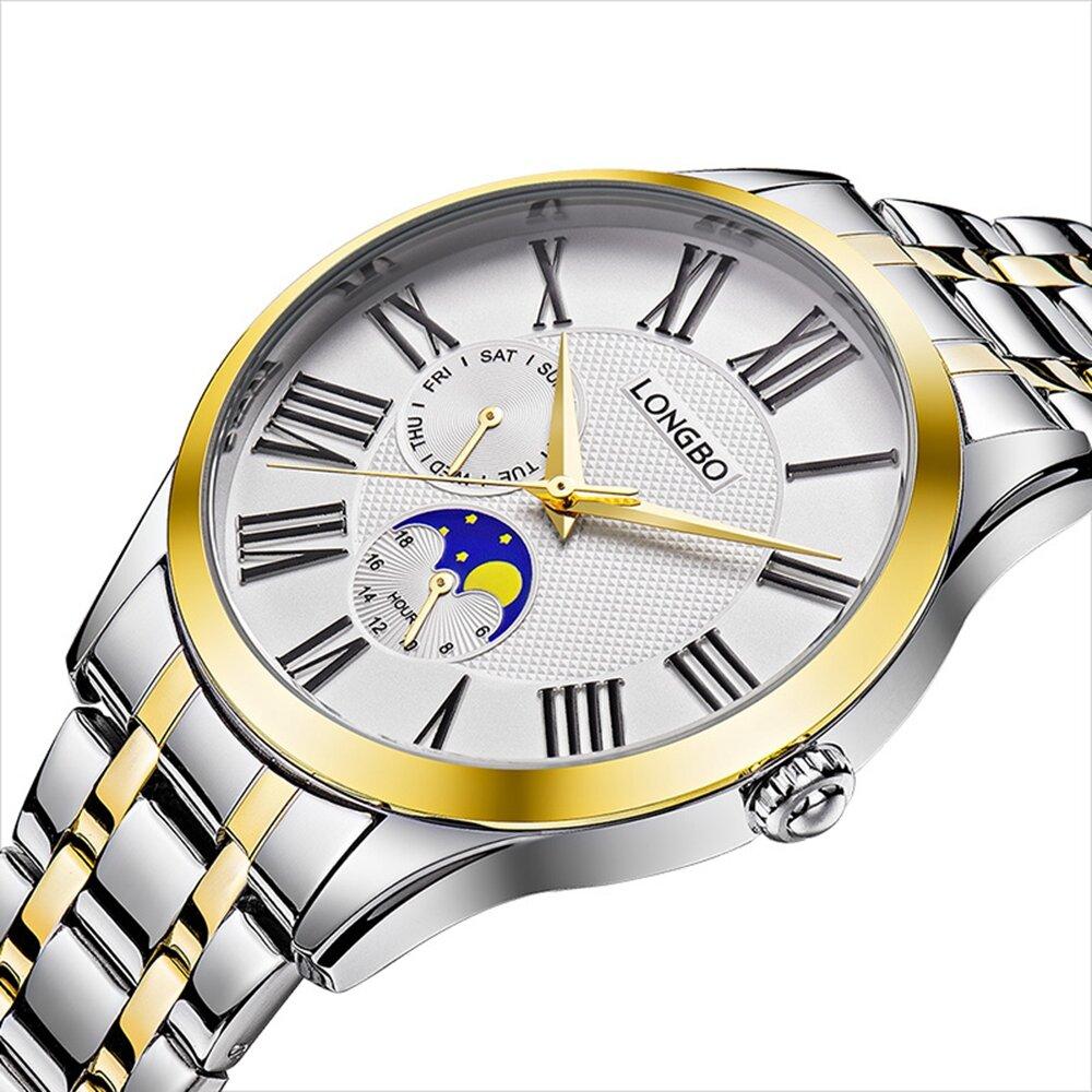LONGBO 5013 Mode Quartz Montres Montre en acier pleine montre-bracelet