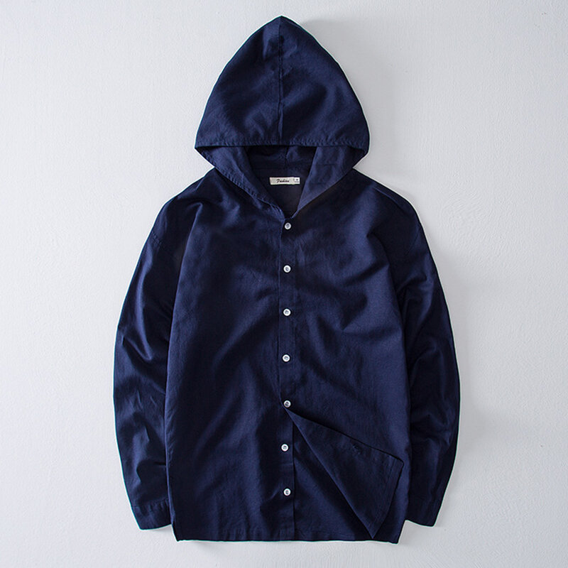 Mens Vintage Cotton Linen Solid Color Casual Single Breasted Hooded Shirts