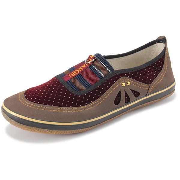 Dot Canvas Soft Sole Color Match Slip On Round Toe Flat Casual Loafers