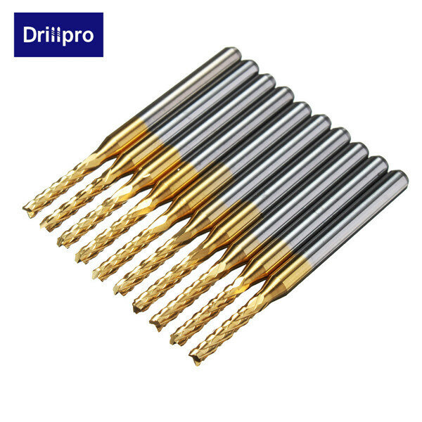Drillpro DB-M11 10pcs 2.0mm 1/8 Inch Shank Carbide End Mill Engraving Bits for CNC PCB Rotary Burrs