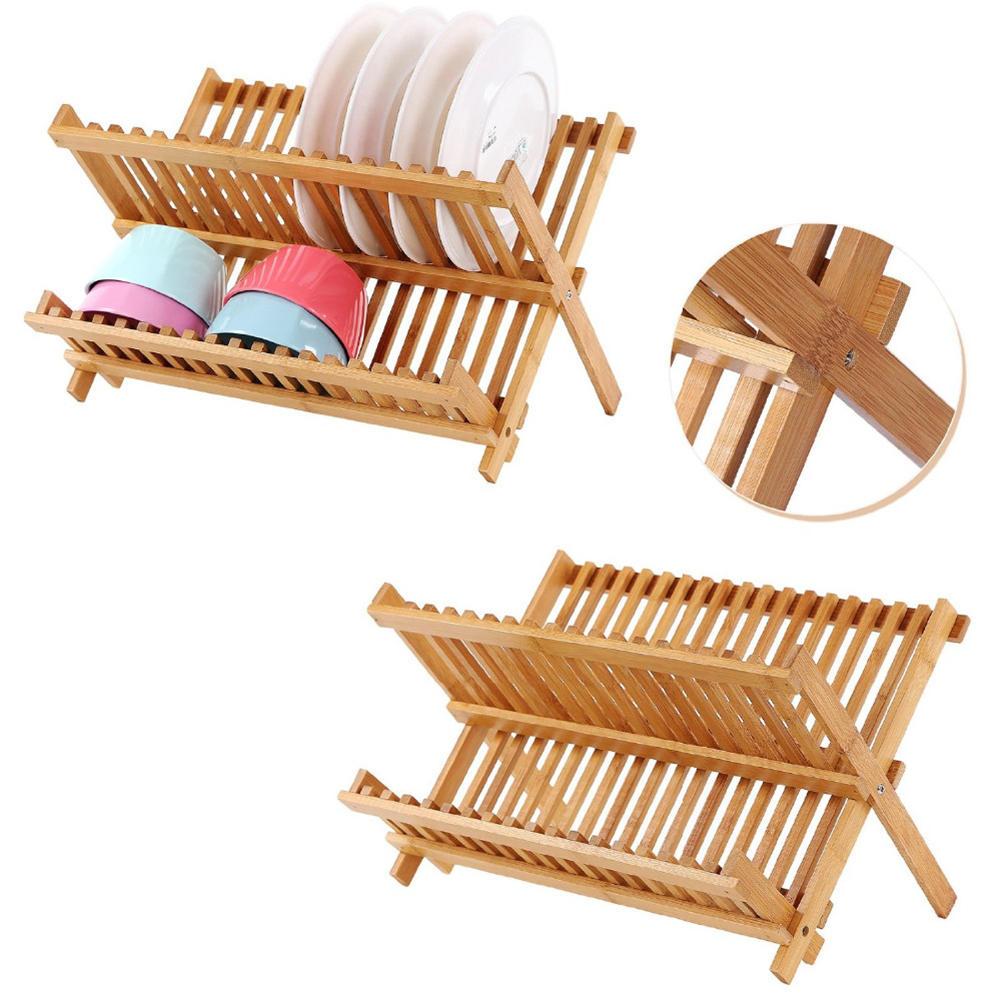 Prato de Bambu dobrável Secagem Rack Plate Tigela Escorredor Titular Organizador Rack De Armazenamento De Cozinha 16 Grades de Cozinha Ferramentas
