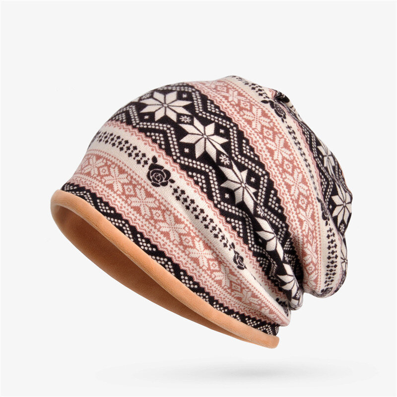 Women Plus Velvet Snowflake Print Multi-purpose Beanie Hats Scraf Outdoor Warm Cap Collar