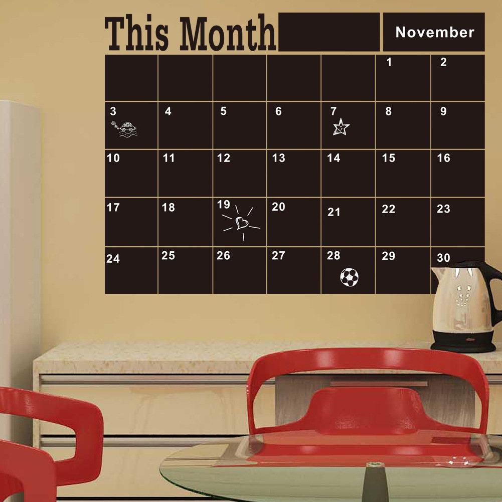 Tableau noir Stickers muraux ce mois calendrier Horaire bricolage calendrier sticker mural décor à la maison