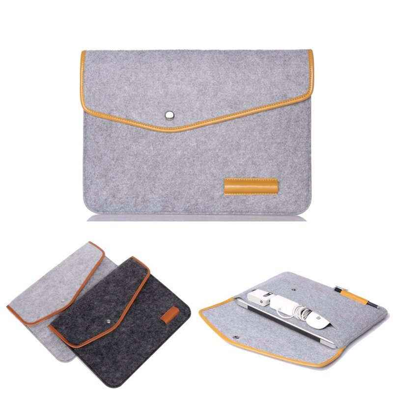 """12 Inch Wool Leather laptop Sleeve Bag For Laptop Tablet Macbook 12"""""""