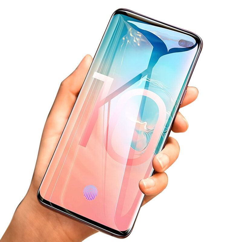 Custodia Kisscase 10D Curved Edge Proteggi Schermo Hydrogel per Galaxy Samsung S10 Plus 6.4 Supporto Pollici Ultrasonic Fingerprint Unlock