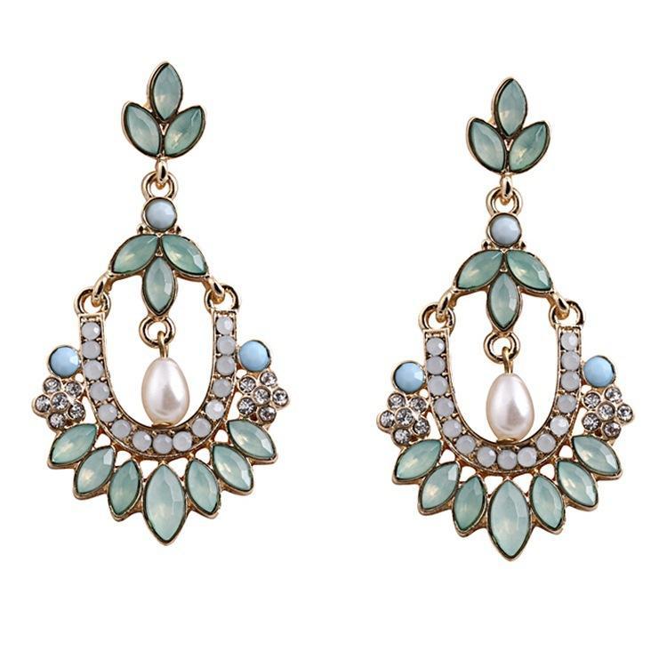 fashion Pearl Gemstone Giamond Drop Flower Earrings