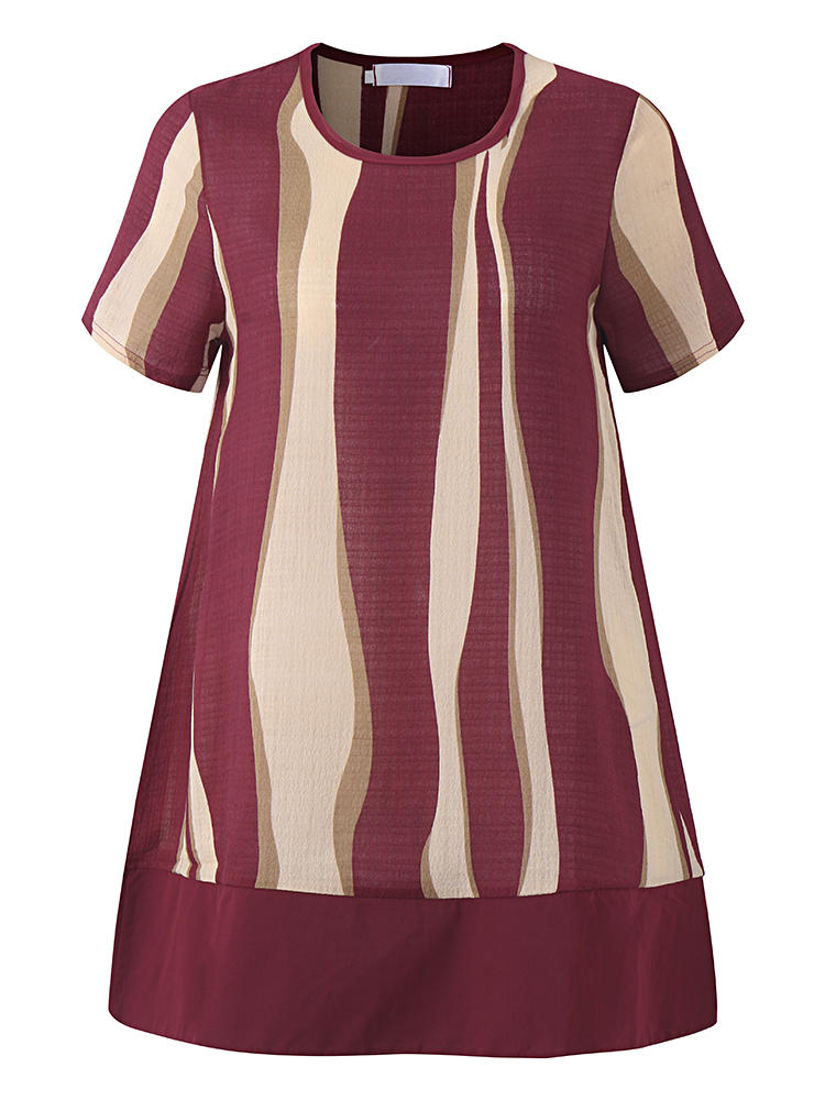 Losse dames blouse met korte mouwen O-neck Striped Blouses