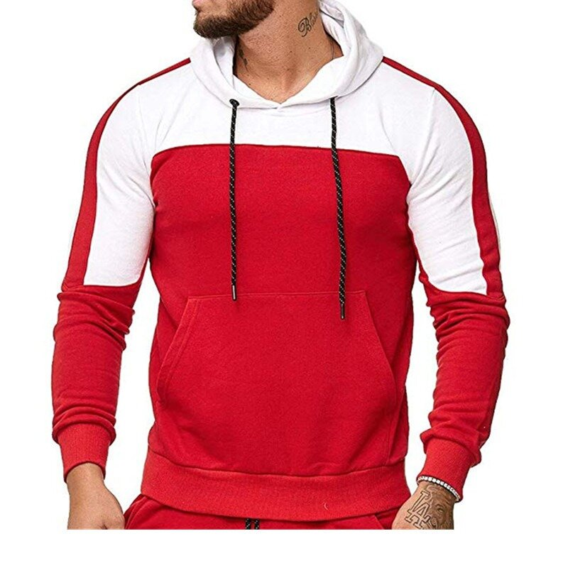 Mens Casual Stitching Color Block Pullover Drawstring Hooded Sweatshirt