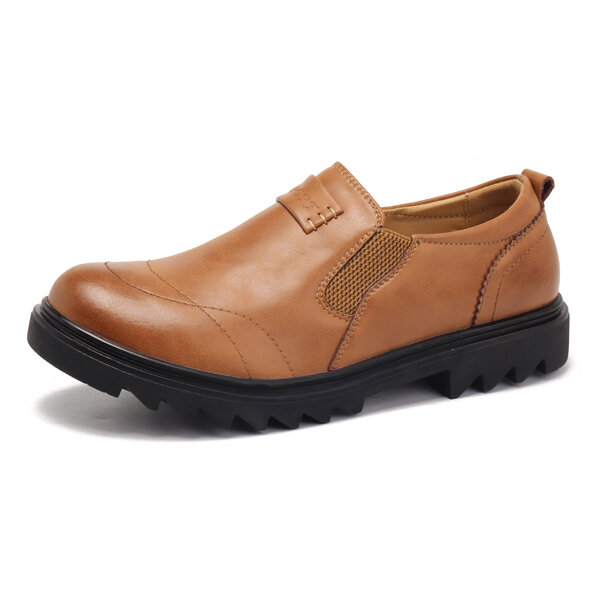 MenComfy Wear Resistance Outsole Casual Business Elastic Band Slip On Oxfords
