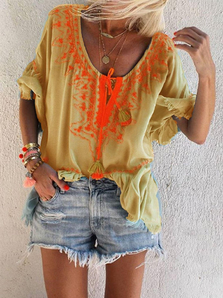 Bohemian Embroidery Round Neck Loose Casual Women Blouse