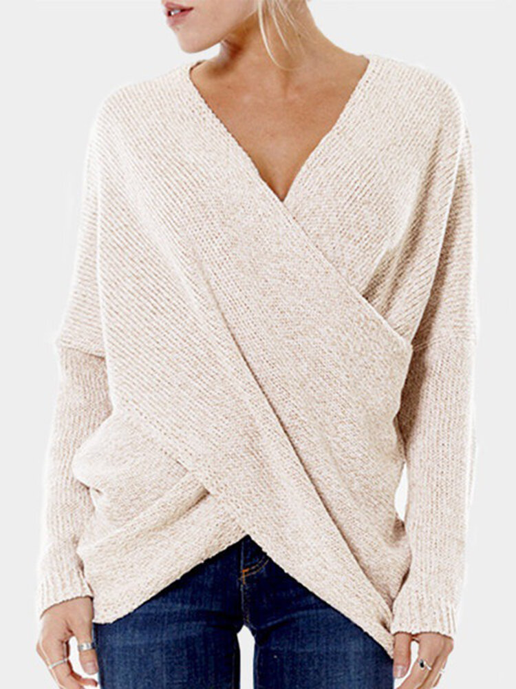 Casual Women Cross V-neck Pullover Long Sleeve Sweaters Tops