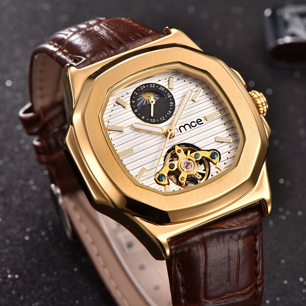 Gold Case Men Watch Moon Phase Business Style Leather Strap Automatic Mechanical Watch