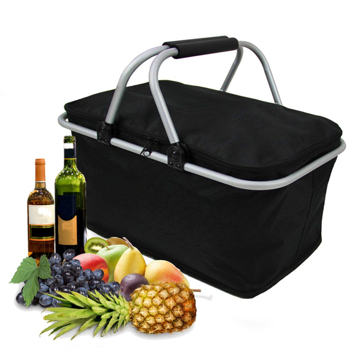 IPRee ™ 30L Katlanır Kamp Piknik Yalıtımlı Çanta Buz Soğutucu Hamper Öğle Yemeği Saklama Sepeti