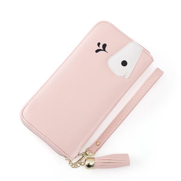ユニバーサルジッパーCartootnクジラ長財布携帯電話の財布バッグの下に5.2インチ