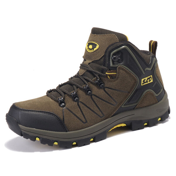 Men Warm Lining Boots Outdoor Hiking High Top Athletic Shoes