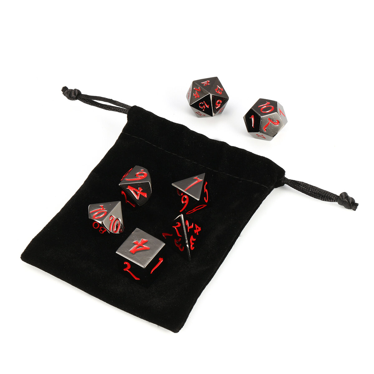 7Pcs Antique Metal Polyhedral Dices Multisided Dices Set Role Playing Game Dice With Bag
