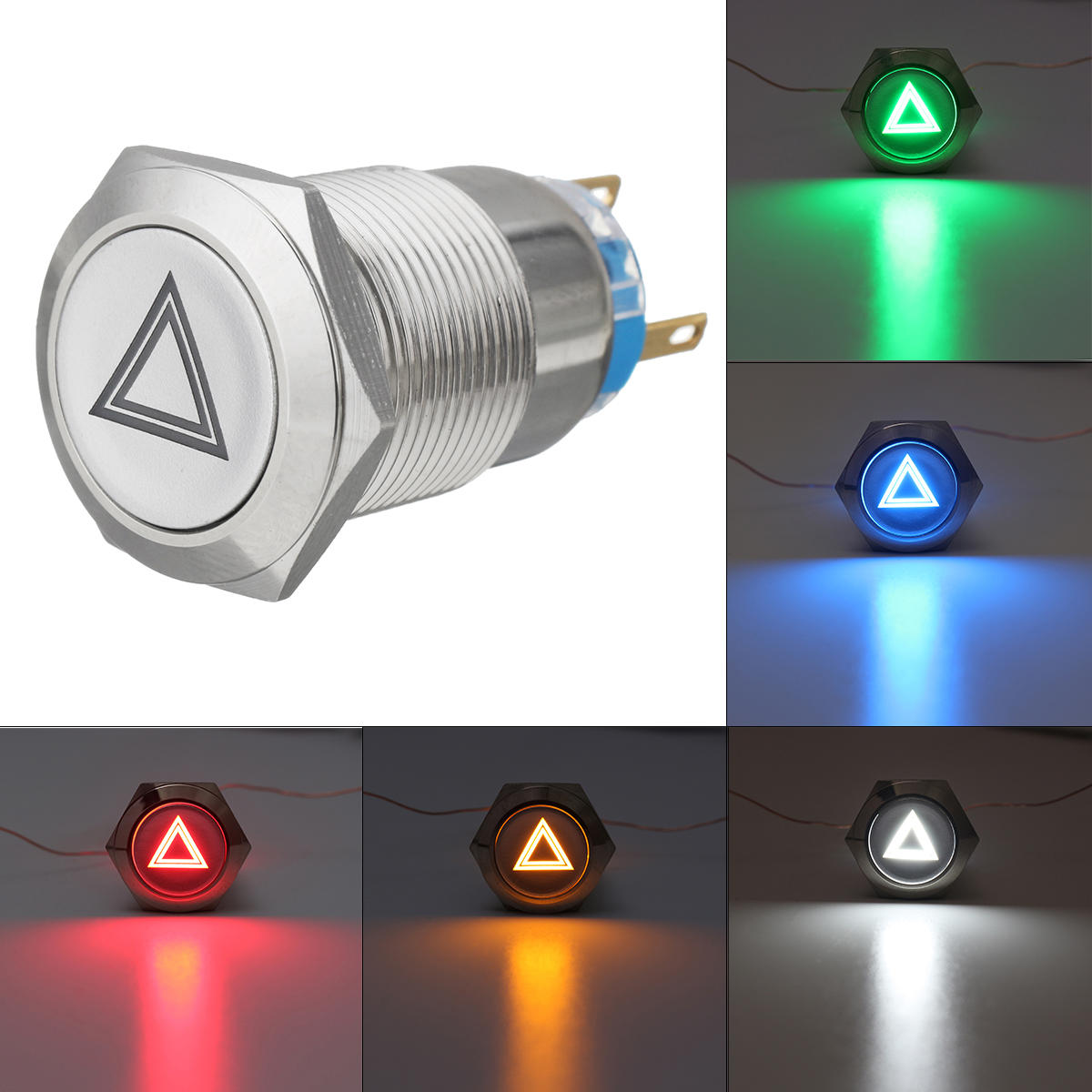 19mm 12V IP65 Push Button Switch Dome Light LED ON/OFF Switches