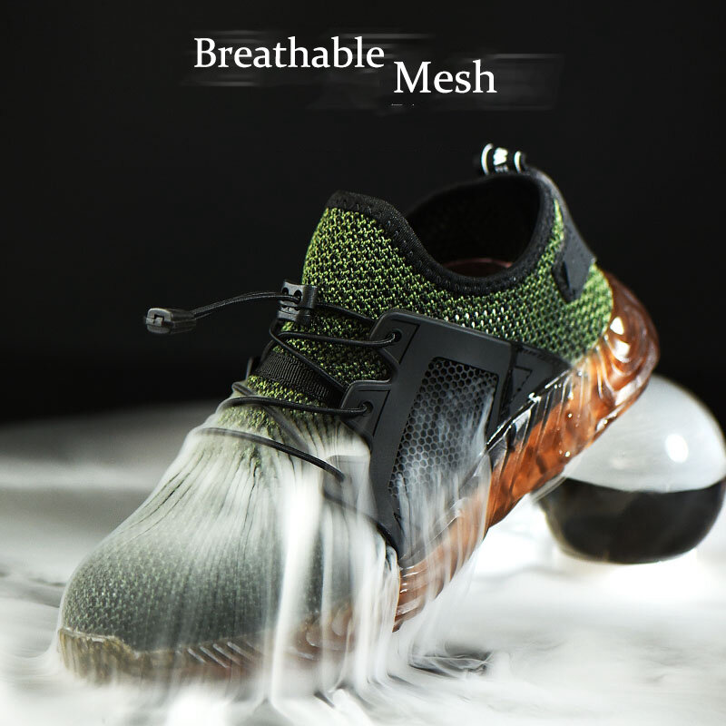 Automatic Shrink Shoelace Hiking Steel Toe Work Safety Mesh Anti-slip Anti-Collision Climbing Shoes
