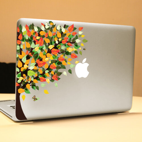 PAG Rainbow Tree Decorative Laptop Decal Removable Bubble Free Self-adhesive Partial Color Skin