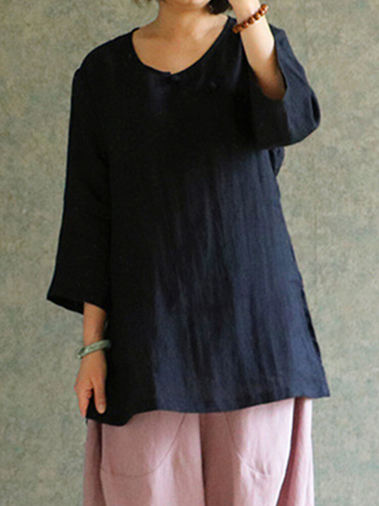 S-5XL Women Vintage Cotton Linen Chinese Frog 3/4 Sleeve Blouse