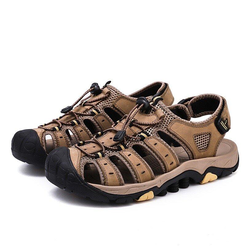 Sandales de marche d'extérieur résistantes au crochet et à la boucle en peau de vache