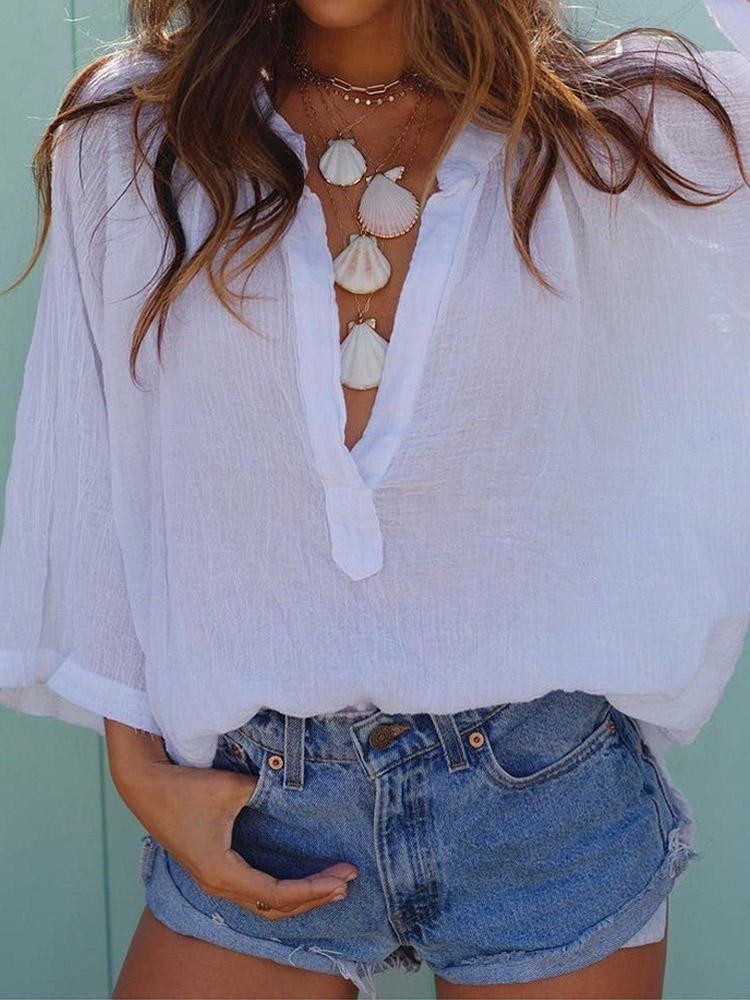 Solid Color V Neck Loose Casual Beach Women Blouse