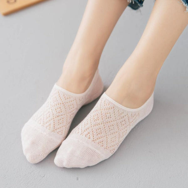 Damen Girls Summer Thin Hollow Breathable Boots Socken Weiche Baumwolle Rutschfeste unsichtbare Socken