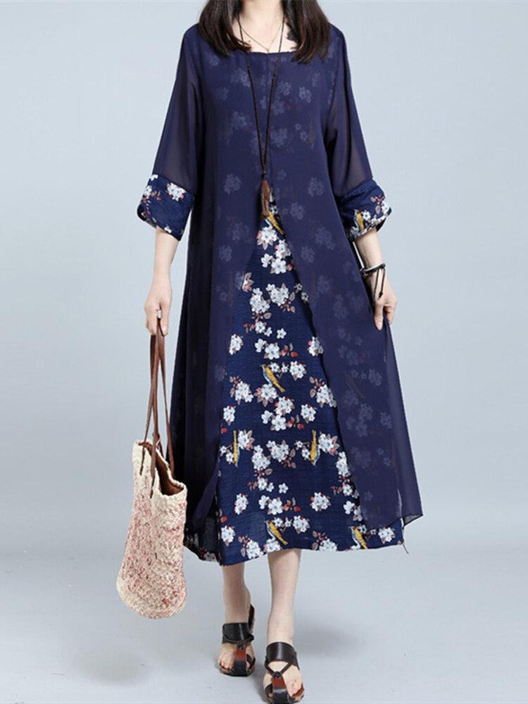 Retro Women Random Floral Printed Two Pieces 3/4 Sleeve Maxi Dress