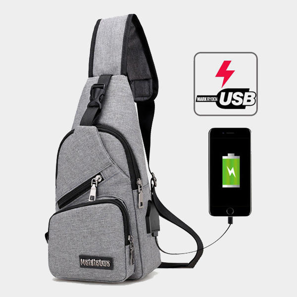 Casual Outdoor Travel Sling Bag Borsttas Crossbody Tas met USB Oplaadpoort