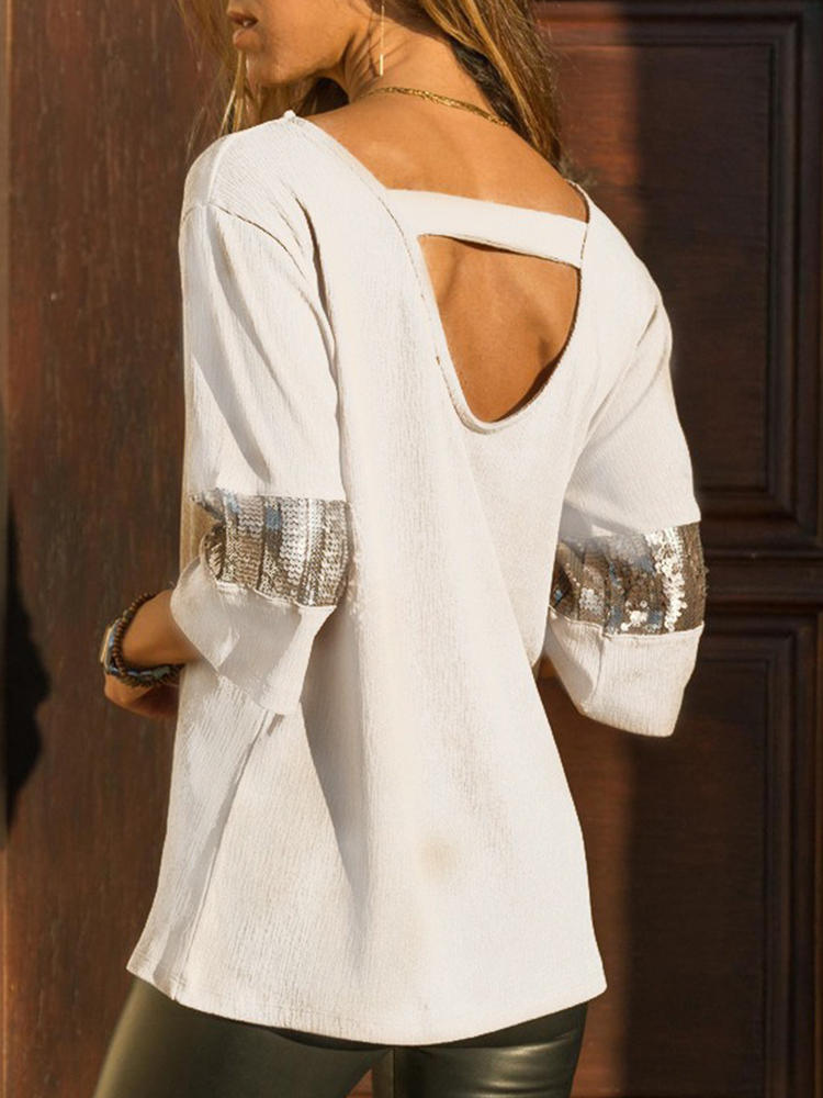 Casual Women Sequin Patchwork Backless 3/4 Sleeve Blouse