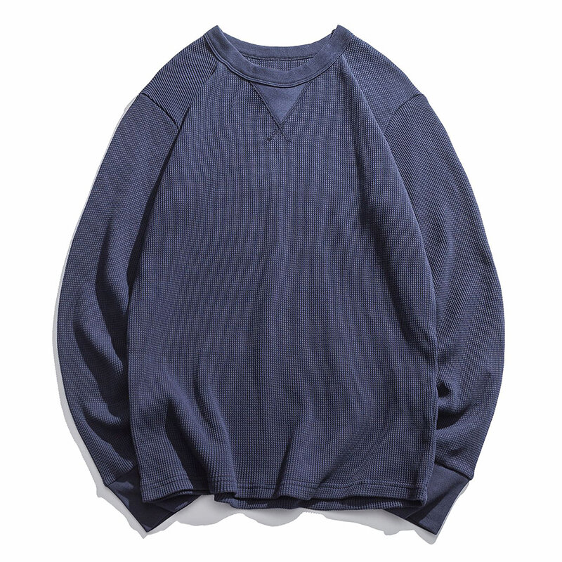 Men's 100% Cotton Crew Neck Overhead Thick Pure Color Long Sleeve Casual T-shirts