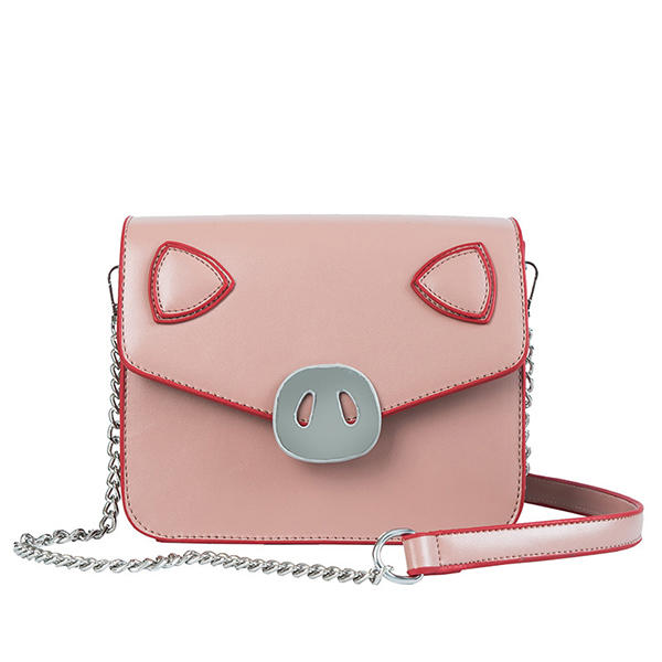 Women Metal Cute Mini Pig Shape Crossbody Bag Chic Stitching Shoulder Bag