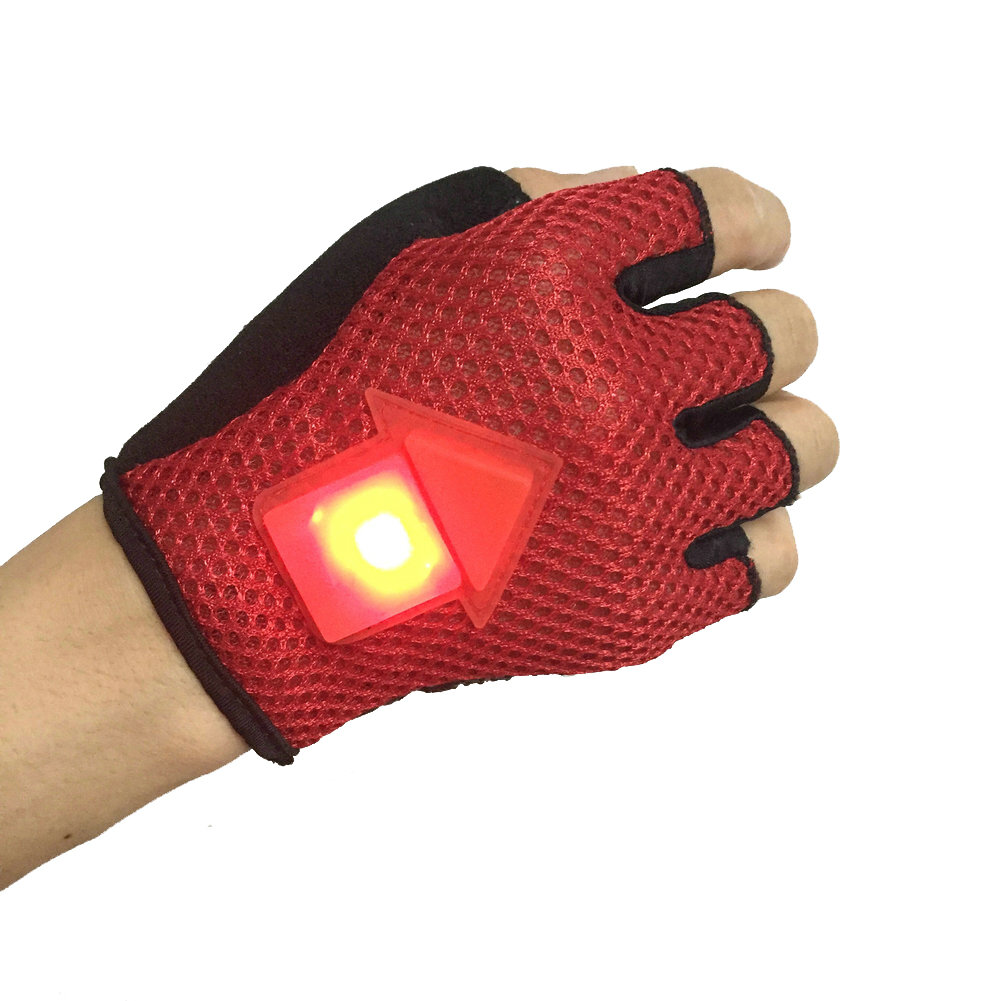 BIKIGHT Gravity Sensor Turn Signal Bike Gloves LED Light Automatic Induction Warning for Cycling Running
