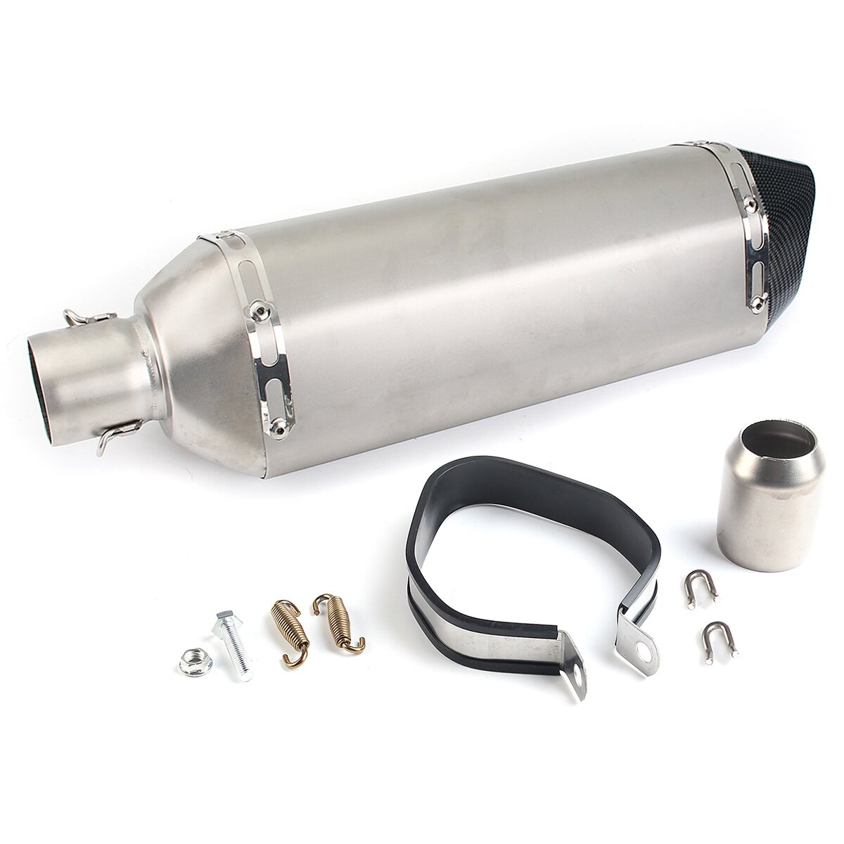 38mm-51mm Stainless Steel Exhaust Muffler Pipe Kit For Motorcycle ATV Universal